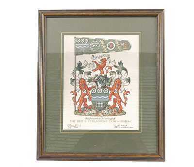 The British Transport Commission coat of arms, as seen in an auction lot of 2005, via this page at Vectis Auctions' website