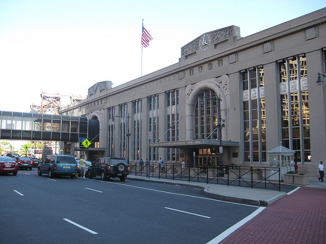 Newark Penn Station. You will already be asking what that utterly hideous glass walkway thing is doing there. Bear with me, I'll get to it in about three paragraphs' time. Photo by Joseph [CC BY 2.0] via this flickr page