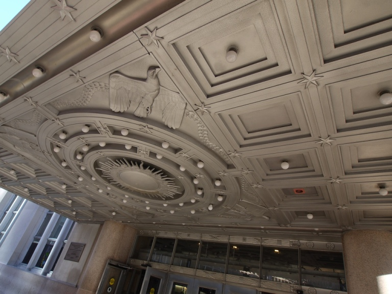 The underside of one of the canopies at the entrance to Penn Station. Photo by lulun & kame [CC BY 2.0] via this flickr page