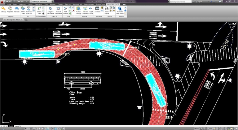 An AutoTURN screenshot showing how the software allows public transport engineers to see the space a bus takes up as it makes a turning movement. You can see how much wider the swept path is than the bus itself. Image © Transoft and very kindly provided by that company