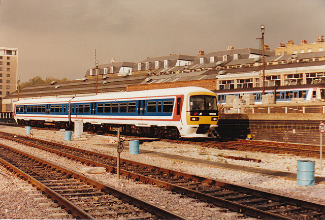 By 199x the Network SouthEast corporate identity had virtually nothing to do with its rail blue British Rail ancestor. Photo by Daniel Wright [CC BY-NC-ND 2.0] via this flickr page