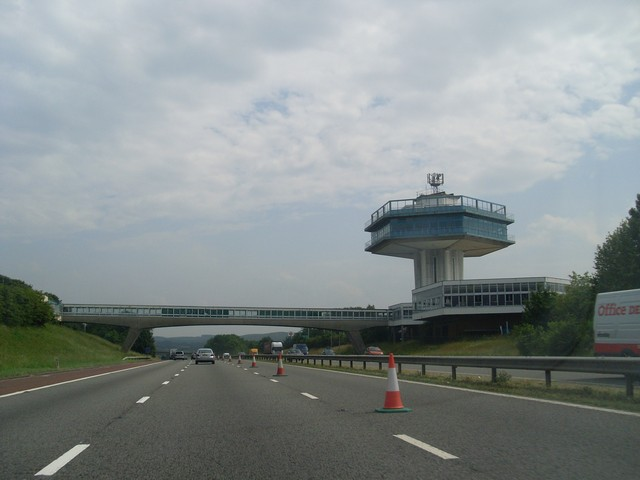 Forton Services as seen from its north side. Photo by Stephen Sweeney [CC BY-SA 2.0], via Wikimedia Commons