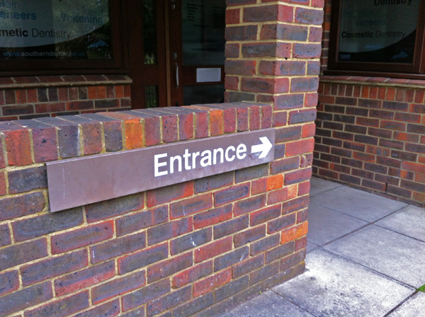 Rail Alphabet signage still in place at a dentists' surgery, May 2015. Photo by Daniel Wright [CC BY-NC-ND 2.0]