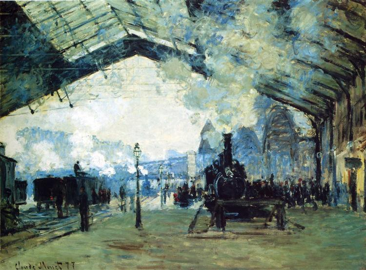 Arrival of the Normandy Train, Gare Saint-Lazare, Claude Monet (1877). In the public domain, via this WikiArt page