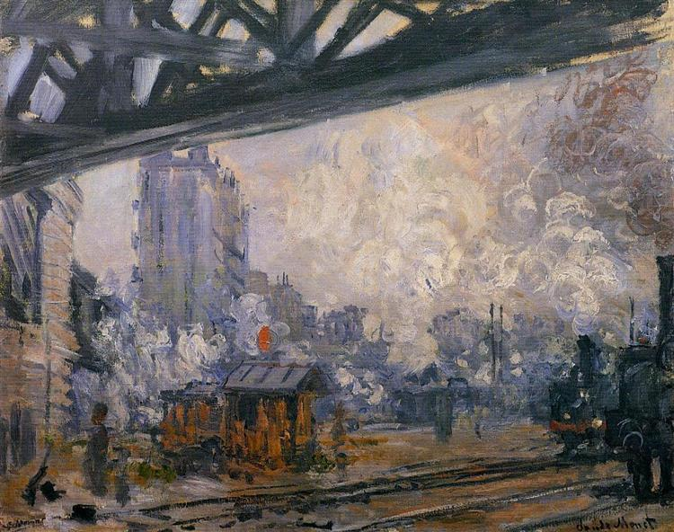Saint-Lazare Station, Exterior View, Claude Monet (1877). In the public domain, via this WikiArt page