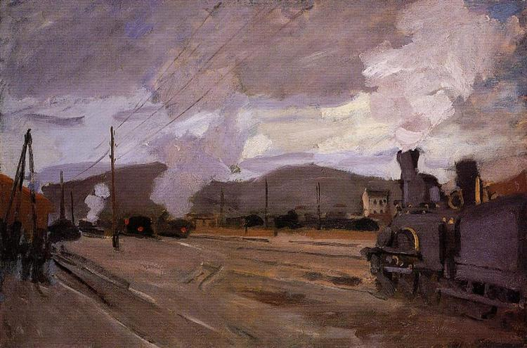 The Railroad Station at Argentuil, Claude Monet (1872). In the public domain, via this WikiArt page