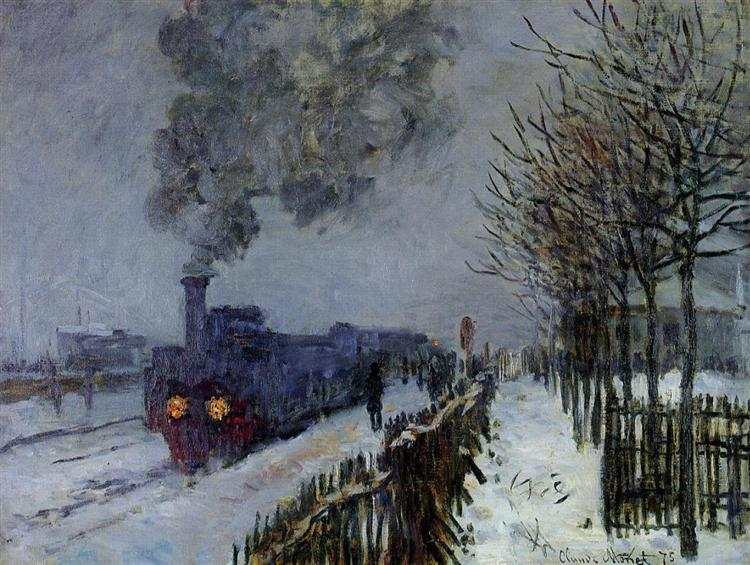 Train in the Snow or The Locomotive, Claude Monet (1875). In the public domain, via this WikiArt page