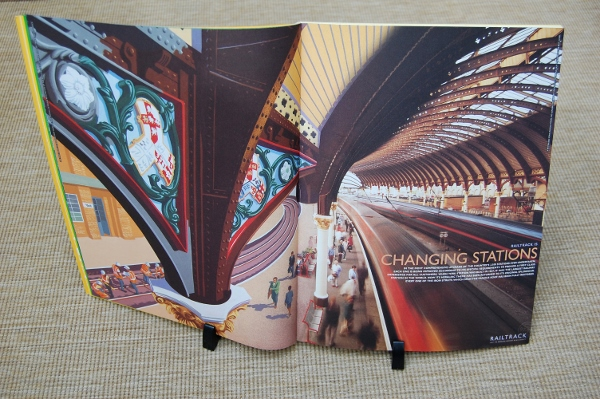 """Changing Stations"" by xxx and xxx, a double page spread in Railtrack's 1997/98 Annual Report"