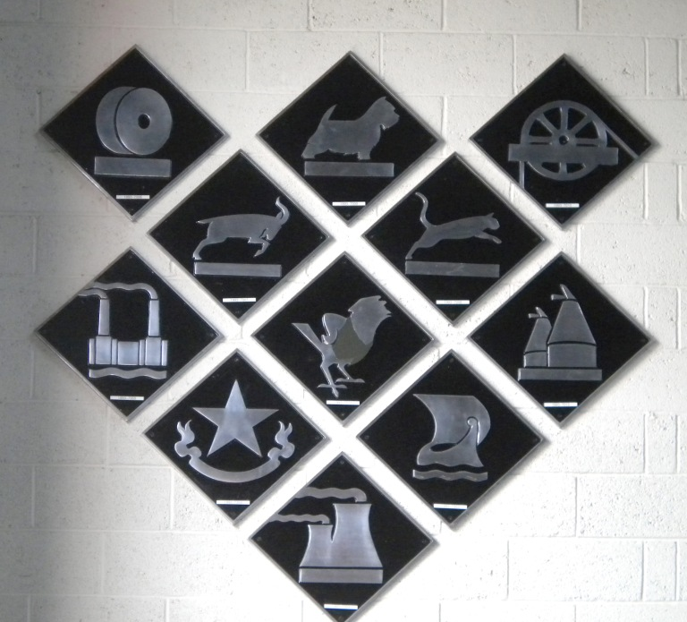 Depot plates at the National Railway Museum in 2013. From left to right, top to bottom; row one: Buxton, Eastfield and Knottingley; row two: Cardiff and Crewe Diesel; row three: Stewarts Lane, Stratford and Hither Green; row four: Immingham and Grangemouth; row five: Toton. There were further plates, not illustrated here. Photo by Paul Wright [used with permission]