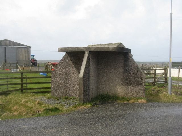 Bus shelter on the A857 road at Nis, Lewis. © Copyright M J Richardson and licensed for reuse under this Creative Commons Licence