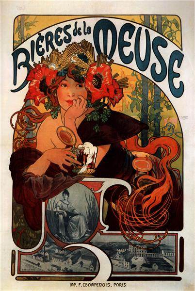 Fancy a Bieres de la Meuse? Oh well, go on then. Poster by Alphonse Mucha (1897) [Public Domain] via WikiArt
