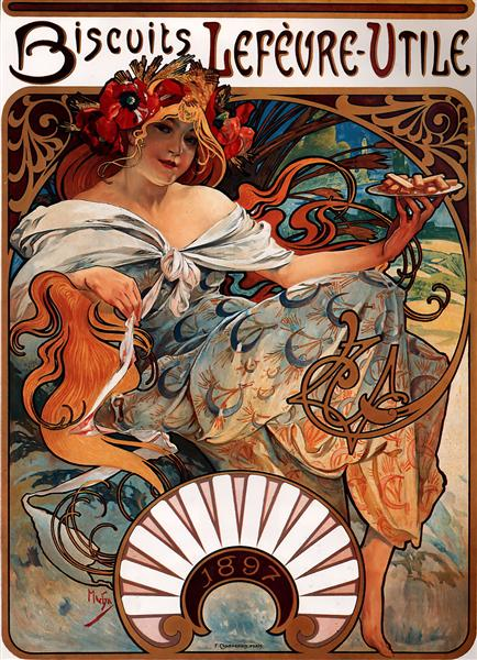 Biscuits Lefevre-Utile by Alphonse Mucha (1986) [public domain] via WikiArt