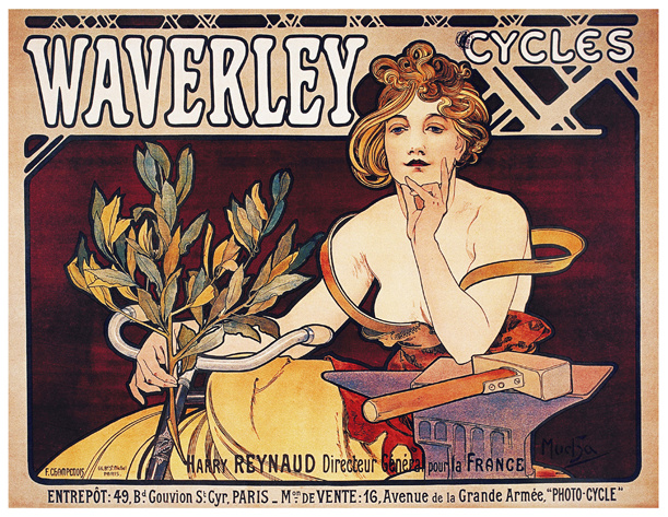 Waverley Cycles by Alphonse Mucha (1898). [Public Domain] via Wikimedia Commons