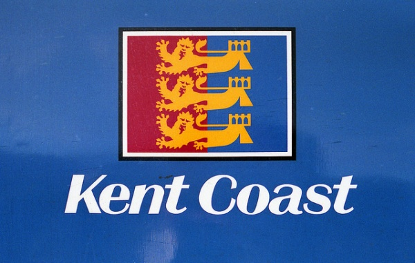 Kent Coast route badge. The design reflects the symbol of the Cinque Ports, several of which were on the Kent Coast lines. Photo by Daniel Wright [CC BY-NC-ND 2.0] via this flickr page