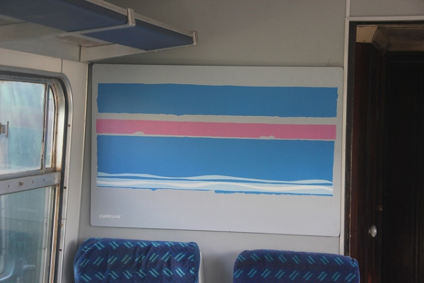 Shoreline by Edward Pond, another of Pond's more impressionistic works, on a Network SouthEast carriage. Photo by Matthew Black [CC BY-SA 2.0] via this flickr page