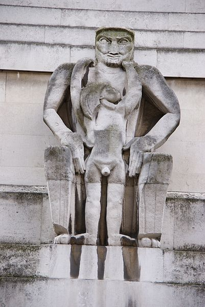 Day by Jacob Epstein, on the exterior of 55 Broadway. Photo by Chris Sampson (ST JAMES PARK-11 240710 CPS) [CC BY 2.0], via Wikimedia Commons