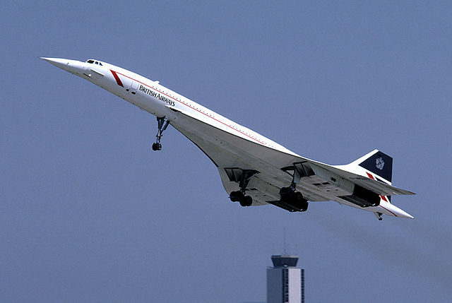 A Concorde at take off. Photo by Eduard Marmet [CC BY-SA 3.0, CC BY-SA 3.0 or GFDL 1.2], via Wikimedia Commons