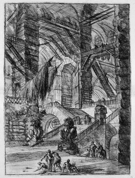 Le Carceri d'Invenzione - First Edition - 1750 - 08 - The Staircase with Trophies. Giovanni Battista Piranesi [Public domain], via Wikimedia Commons