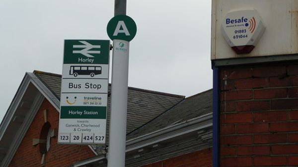 Interchange bus stop at Horley station, Surrey. Photo by By Arriva436 (Own work) [GFDL or CC BY 3.0], via Wikimedia Commons
