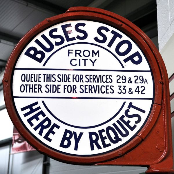 1950s/60s bus stop sign by Birmingham City Transport. Photo by Petecollier (Own work) [CC BY-SA 3.0], via Wikimedia Commons