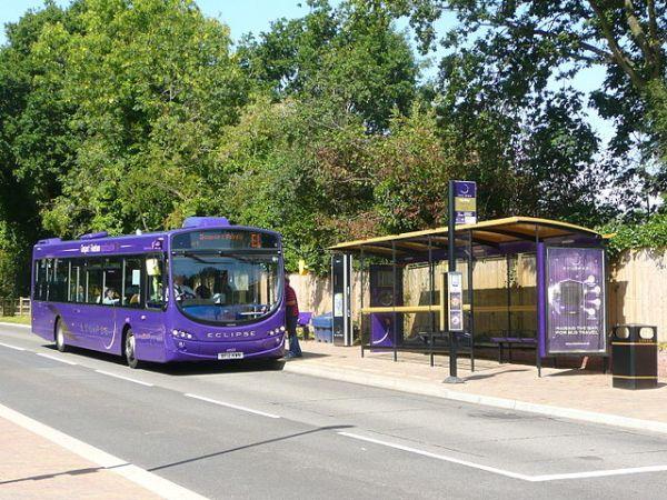 Wych Lane bus stop. Photo by Spsmiler (Own work) [CC0], via Wikimedia Commons