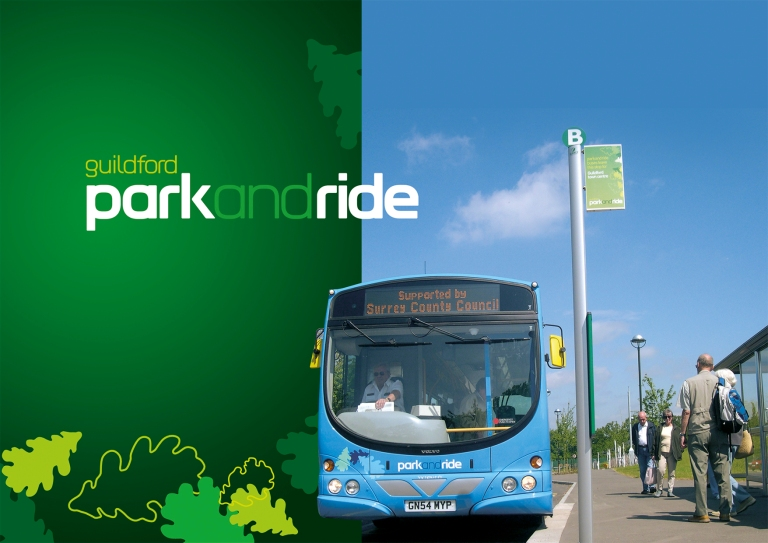 Guildford Park and Ride corporate identity. @copy; Best Impressions, used with permission. (I was quite surprised to get this from Best Impressions, because I took the original photograph on the right of this image...)