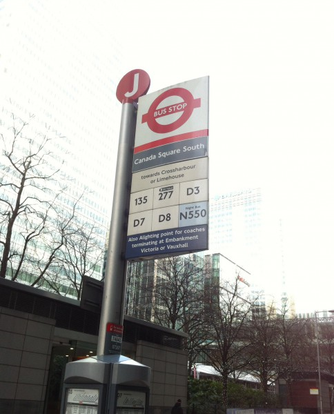 TfL bus stop at Canary Wharf. Photo by Daniel Wright [CC BY-NC-ND 2.0]