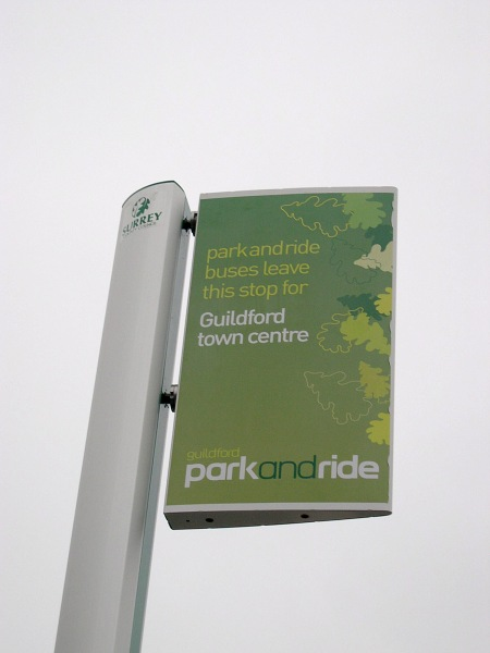 Guildford Park and Ride bus flag. Photo taken by me while I was working for Surrey County Council, probably some time in 2004 or 2005.