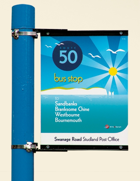 Wilts & Dorset Route 50 bus stop flag. © Best Impressions, used with permission
