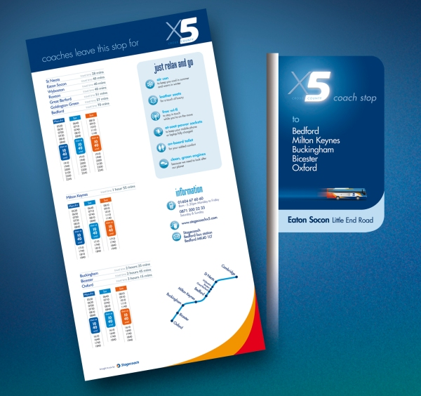 Stagecoach X5 bus stop flag (and timetable). Image © Best Impressions, used with permission