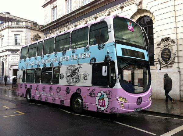Brighton & Hove Buses' Ravilious-inspired Get Bus(y) bus. Photo by Daniel Wright [CC BY-NC-ND 2.0] via this flickr page