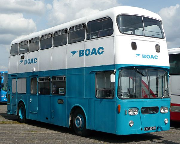 A BOAC bus. They were used to transport passengers from the Imperial Air Terminal in London to the airport from which they were flying. Photo by By Arriva436 (Own work) [CC BY-SA 3.0 or GFDL], via Wikimedia Commons