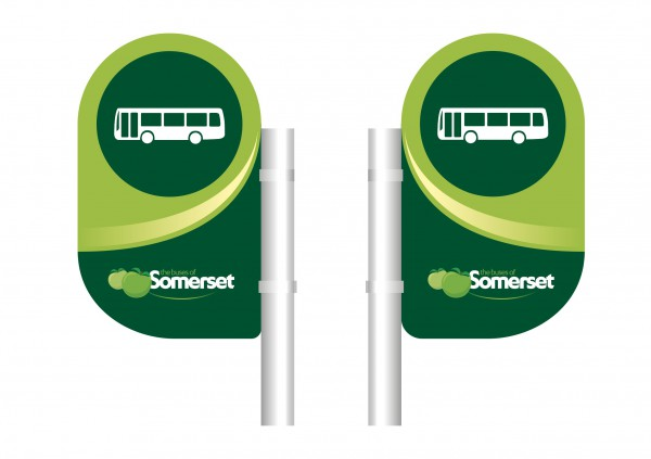 Buses of Somerset bus stop flag design. © Best Impressions, used with permission