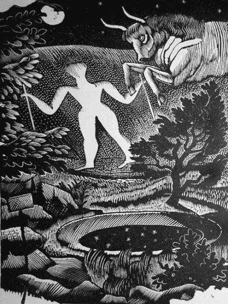 May, woodcut of the Long Man of Wilmington, 1925. Via WikiArt