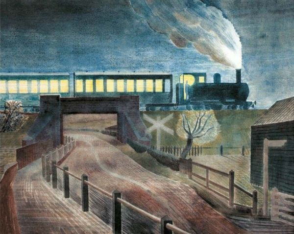 Train Going Over a Bridge at Night, 1935. Via WikiArt