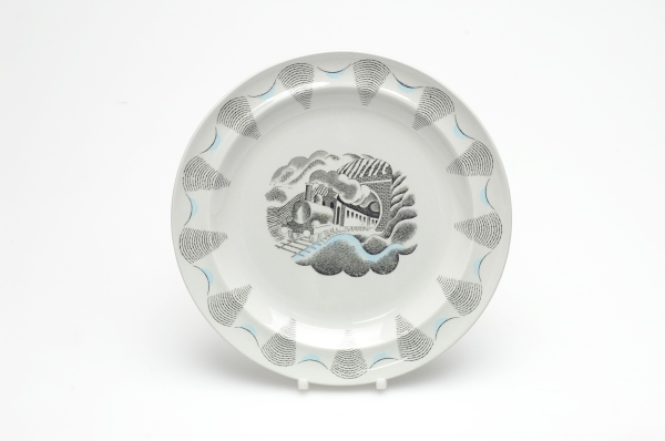 Plate from the Travel series by Eric Ravilious. Photo ©Wedgwood Museum/ WWRD, via this page at the The Wedgwood Museum