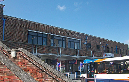 Chichester bus station. The windows! The seriffed lettering! I love it all. Photo by Daniel Wright [CC BY-NC-ND 2.0] via this flickr page
