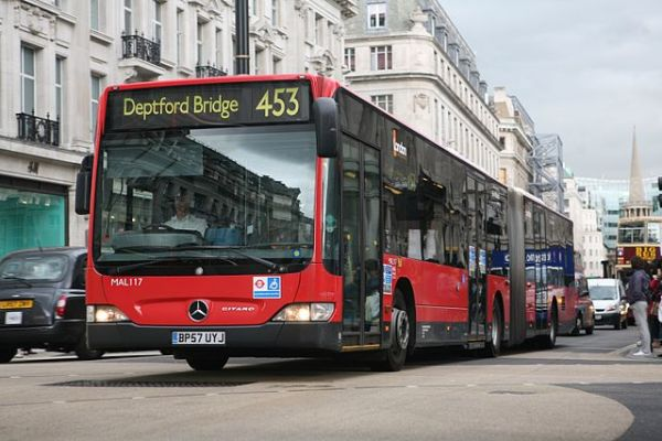 A London bendy bus in 2008. Photo by Darren Hall [CC BY-SA 2.0], via Wikimedia Commons