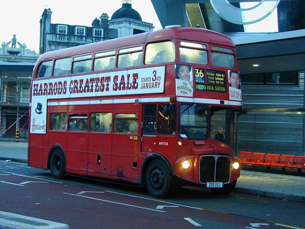 A Routemaster on Route 36 - my one-time commuting roure - at Vauxhall in 2005. Photo by Mwharmby at en.wikipedia (Transferred from en.wikipedia) [GFDL or CC-BY-SA-3.0], from Wikimedia Commons