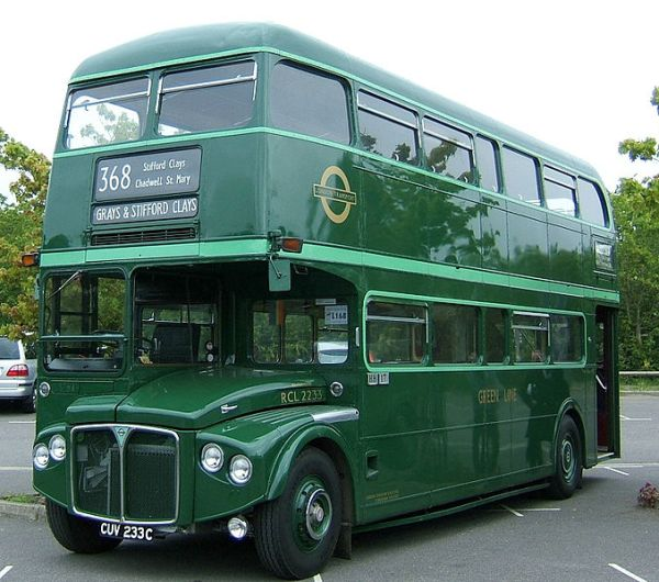 A Green Line Routemaster. Photo by Andrew Skudder from UK (Bus) [CC BY-SA 2.0], via Wikimedia Commons
