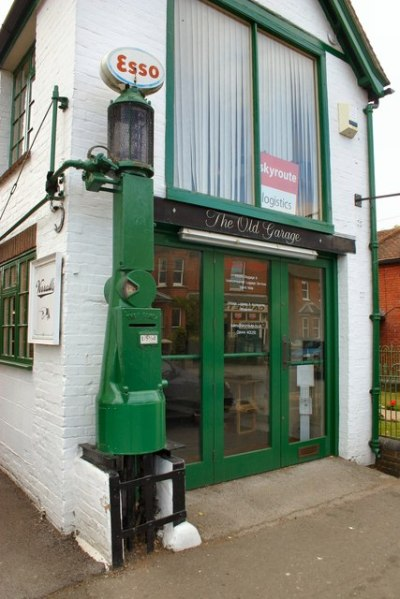 Early petrol pump on Handcross High street. © Copyright Peter Jeffery and licensed for reuse under this Creative Commons Licence