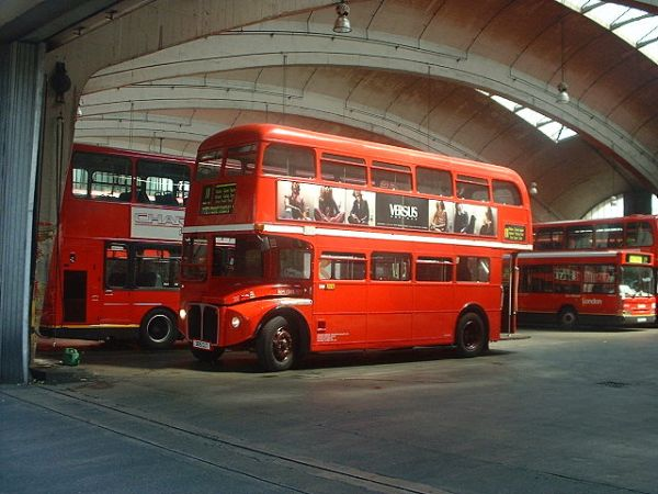 If I have to feature Routemasters I might as well get the glorious curves of Stockwell Bus Garage in as well. Photo by Matthew Black from London, UK (DSCF0041) [CC BY-SA 2.0], via Wikimedia Commons