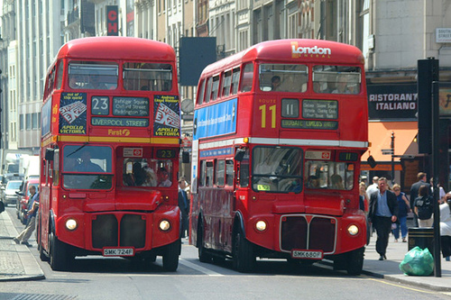 Routemasters: design icons but bane of my commute. Photo by Salim Virji (Two double-decker Routemaster buses, London) [CC BY-SA 2.0], via Wikimedia Commons