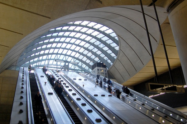 One of the most famous views of Canary Wharf station is the bank of escalators leading up to the western entrance, so I'd better include one. Photo by Daniel Wright [CC BY-NC-ND 2.0] via this flickr album
