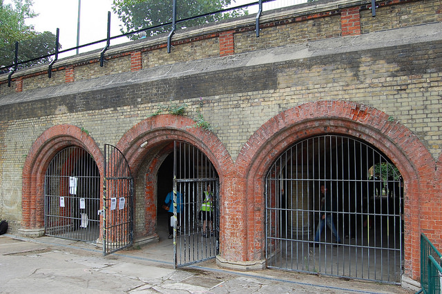 Underneath Crystal Palace Parade, these three arches are the entrance to Crystal Palace Subway where the High Level station used to be. Photo by Daniel Wright [CC BY-NC-ND 2.0] via this flickr album
