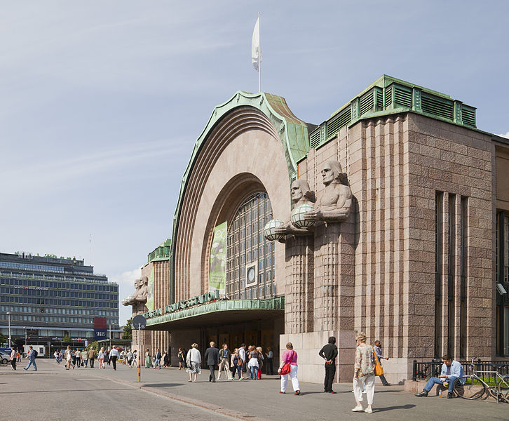 The main entrance of Helsinki Central. Diego Delso [CC BY-SA 3.0], via Wikimedia Commons