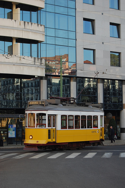 Lisbon tram at Martim Moniz. Photo by Daniel Wright [CC BY-NC-ND 2.0] via this flickr album.