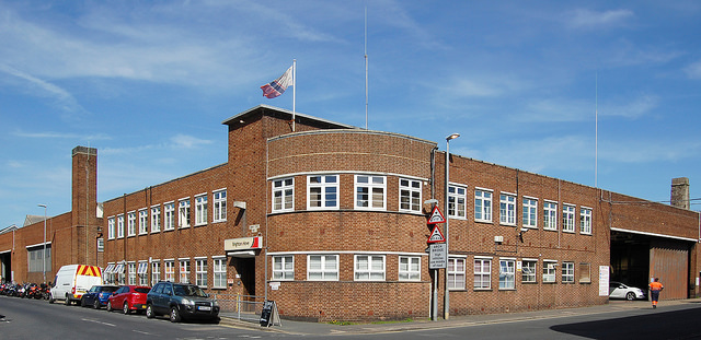 Brighton and Hove Buses' garage and offices in Hove. Photo by Daniel Wright [CC BY-NC-ND 2.0] via this flickr album.