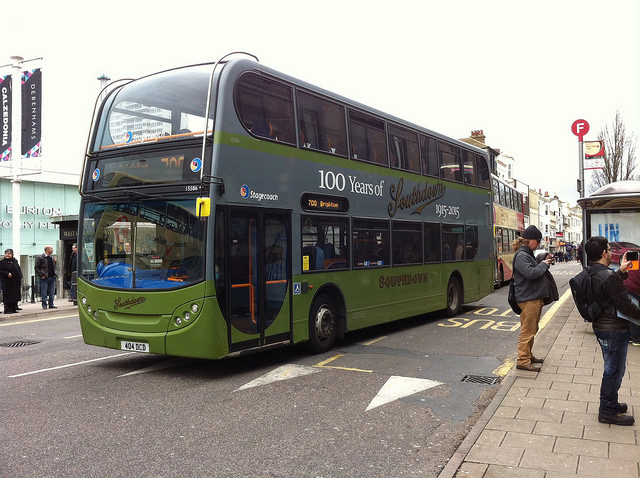 Stagecoach bus in Southdown 100th anniversary colours. Photo by Daniel Wright [CC BY-NC-ND 2.0] via this flickr page.