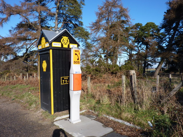 AA Box 714, on the A96. © Copyright Peter Aikman and licensed for reuse under this Creative Commons Licence
